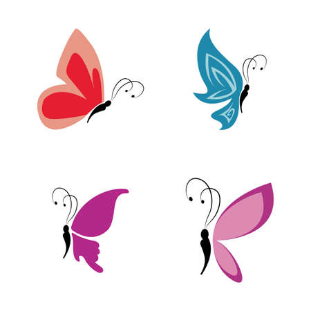 different cute butterflies on a white background Vector