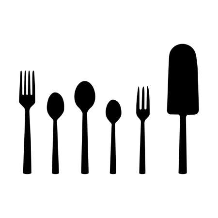 small group of objects: abstract kitchen tools silhouettes on a white background