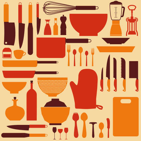 abstract kitchen tools making a special background Stock Vector - 27160947