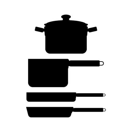 pot holder: abstract kitchen tools silhouettes on a white background