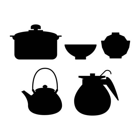 abstract kitchen tools silhouettes on a white background Stock Vector - 27161016