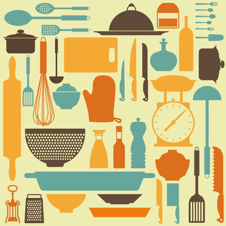 abstract kitchen tools making a special background Stock Vector - 27161028