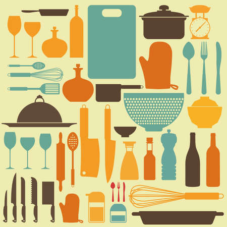 small group of objects: abstract kitchen tools making a special background