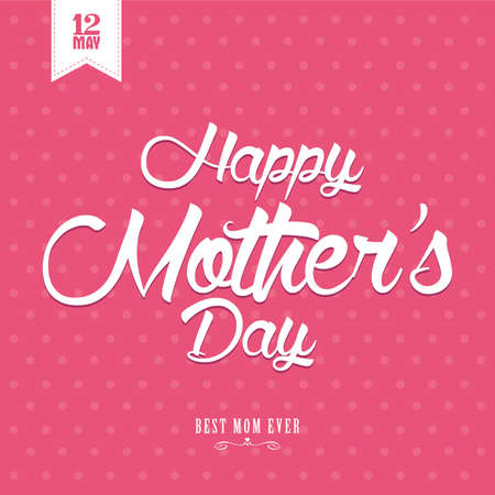 mothers: abstract happy mothers day on a white background Illustration