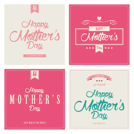 Different four special happy mothers day background Illustration