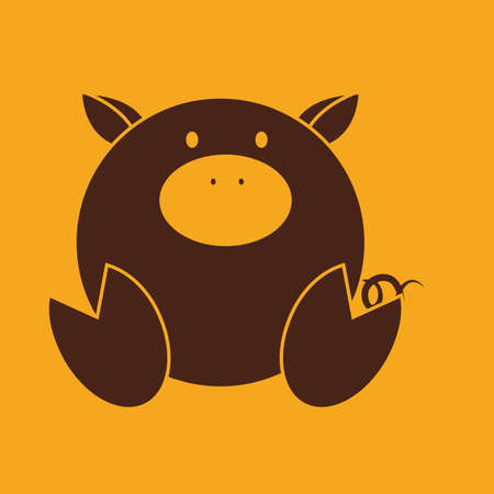 abstract cute pig on a yellow background Vector