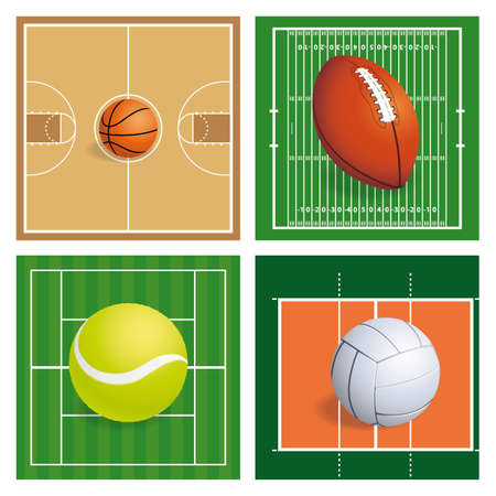 abstract sports balls on a different background