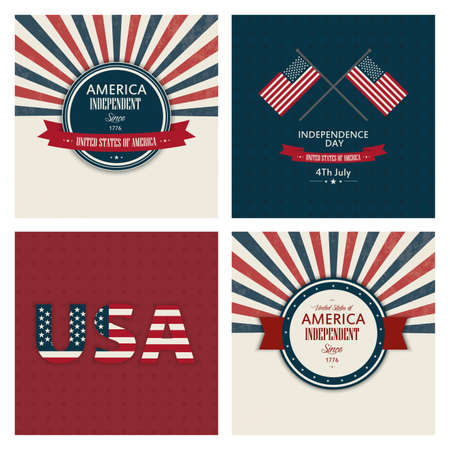 Four Independence day backgrounds with special objects Illustration