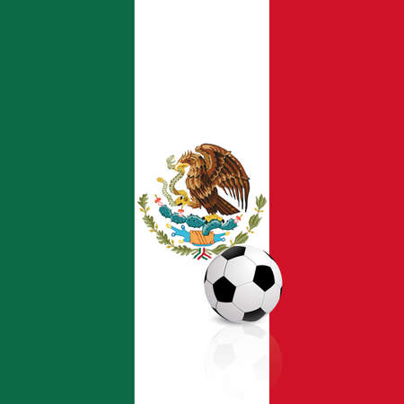 bandera mexico: bandera abstracta M�xico con un bal�n de f�tbol