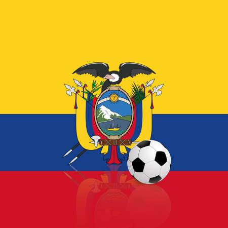 republic of ecuador: abstract Ecuador flag with a soccer ball