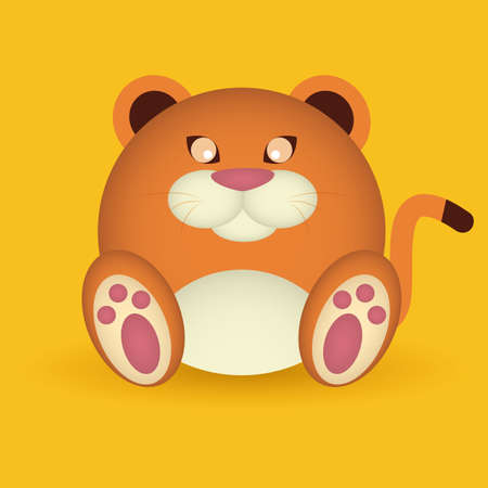 abstract cute puma on on a yellow background Vector