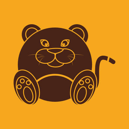 abstract cute puma on a yellow background Vector