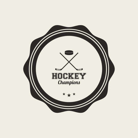 hockey game: abstract sport label on a white background