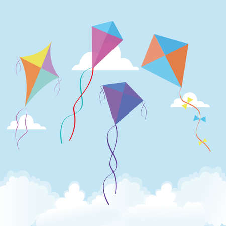 sky line: abstract cute kites on a special background