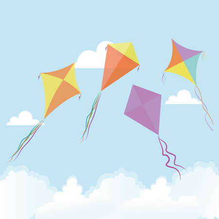 abstract cute kites on a special background Vector