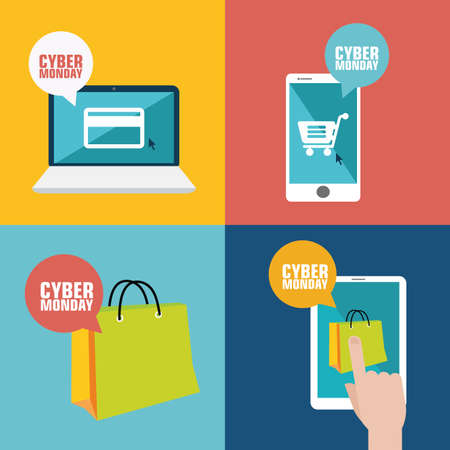 abstract Cyber Monday backgrounds with special objects Vector