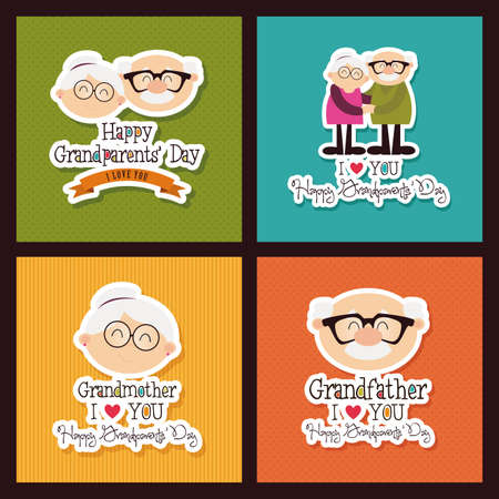 abstract grandparents day background with special objects Ilustracja