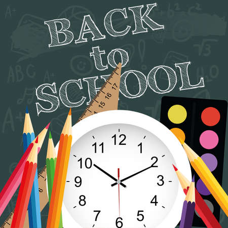 semester: abstract back to school background with special objects