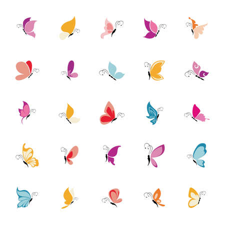 abstract set of cute butterflies on a white background Vector