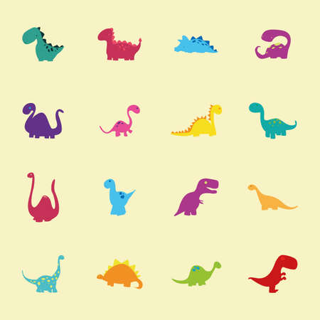 prehistoric animals: abstract set of cute dinosaurs on a light yellow background