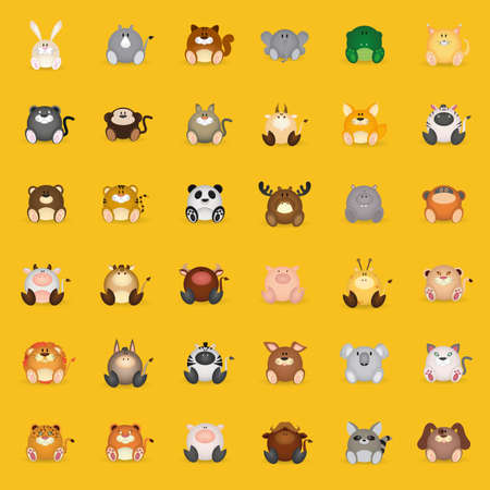 set of different mammal animals on a yellow background