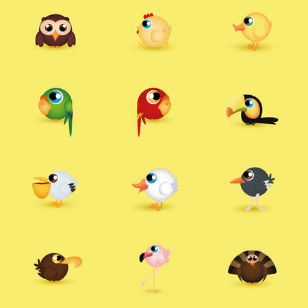 abstract set of cute birds on a yellow background Vector