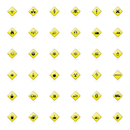 explosion hazard: abstract set of danger signals on a white background Illustration