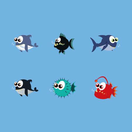 pez globo: animales de agua abstractas sobre un fondo azul