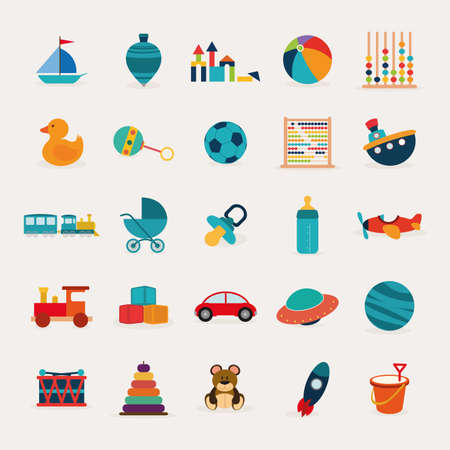 abstract cute toys on a white background Illustration