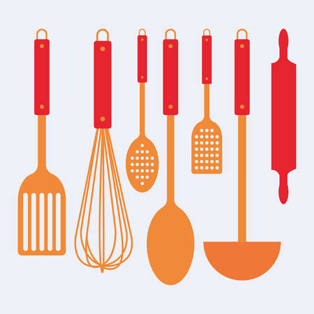 pot holder: Abstract kitchen tools on a white background Illustration