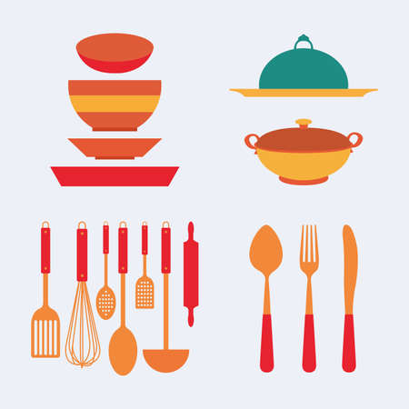 small group of objects: Abstract kitchen tools on a white background Illustration