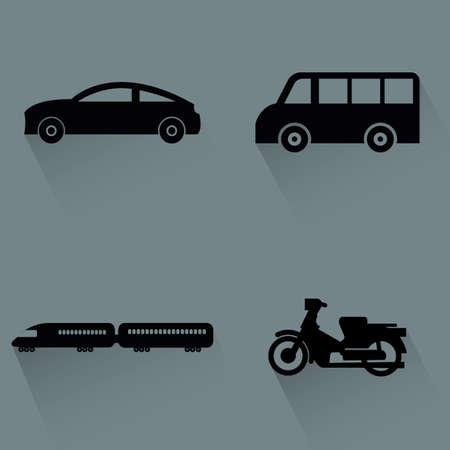 Abstract vehicles silhouettes on a gray background Vector