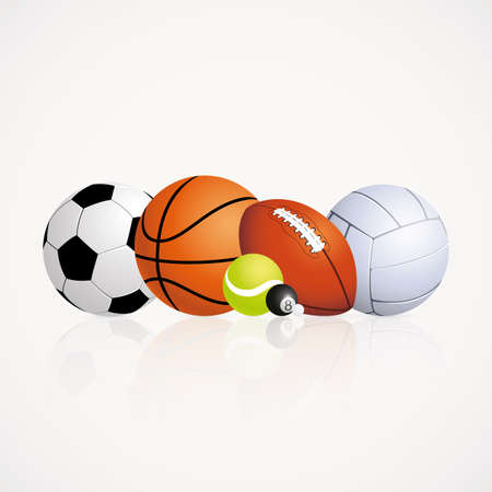 sports equipment: abstract sports balls on a white background Illustration