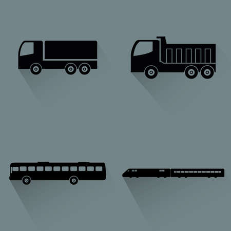 aerodynamics: Abstract vehicles silhouettes on a gray background