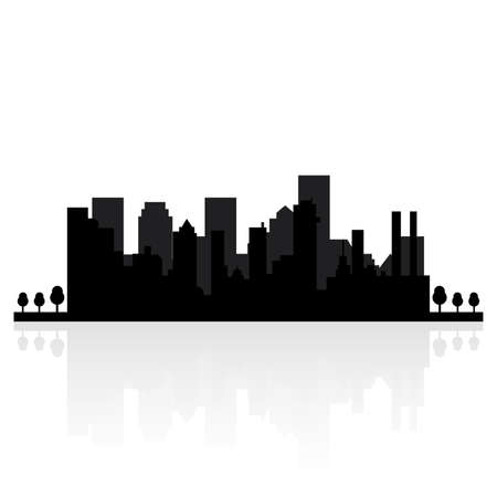 silhouette of a city: abstract buildings silhouettes on a white background