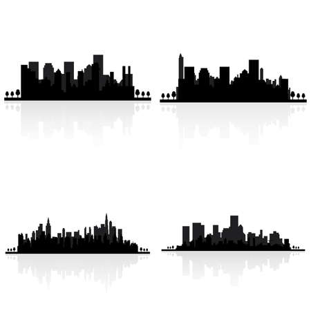 city scape: abstract buildings silhouettes on a white background