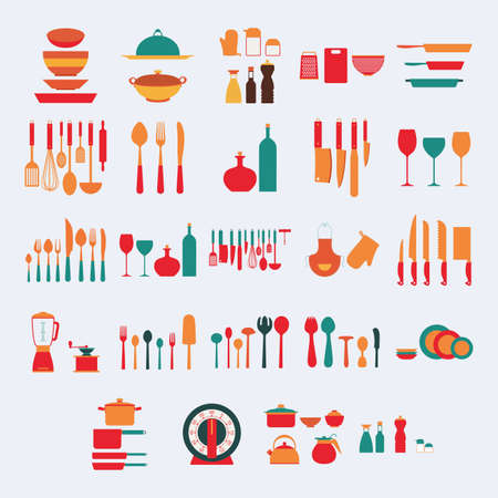 large group of objects: abstract kitchen objects on a white background Illustration