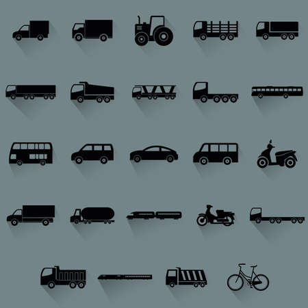 cartoon truck: abstract vehicles silhouettes on a blue background Illustration