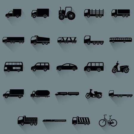 cartoon truck: veh�culos abstractos siluetas sobre un fondo azul Vectores