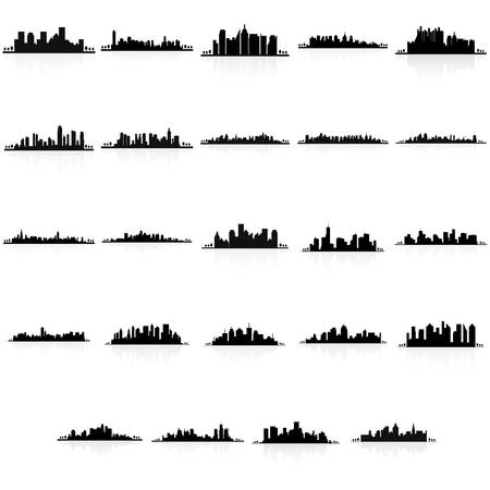 city background: abstract buildings silhouettes on a white background