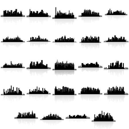 city background: abstract building silhouettes on a white background