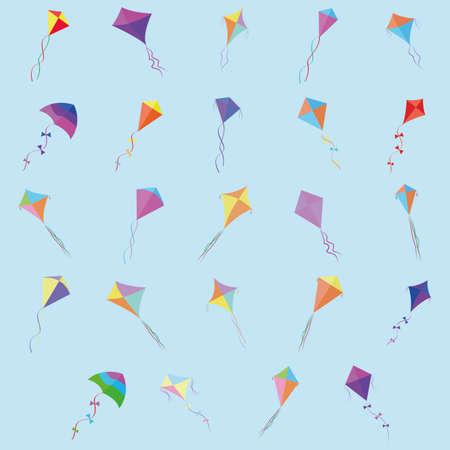 flying kite: abstract cute kites on a blue background Illustration