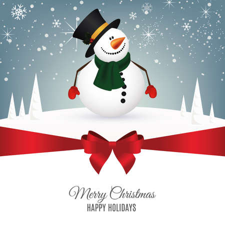 holiday greeting: abstract christmas background with a snowman Illustration