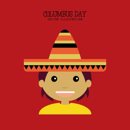 abstract columbus day background with a representative person Illustration