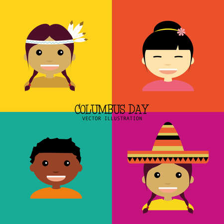 abstracta fondo columbus día con cuatro culturas diferentes