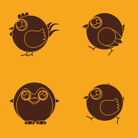 pinguin: abstract cute birds on a yellow background