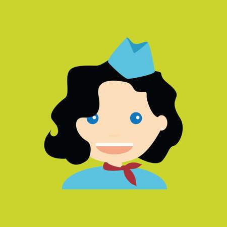 stewardess: Abstract cute stewardess on a green background