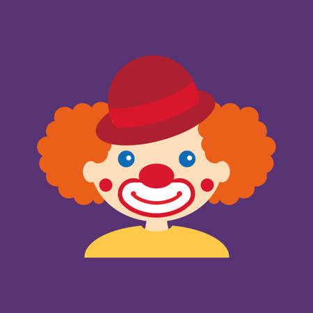 abstract cute clown on a purple background