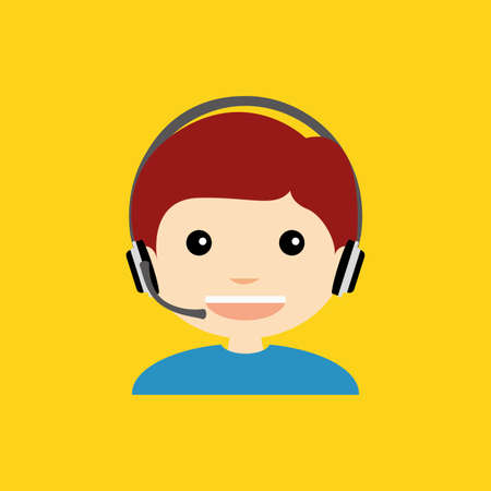 caller: Abstract cute caller on a yellow background