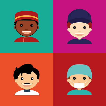 professions lib�rales: abstract people with different professions on squares whit different color Illustration